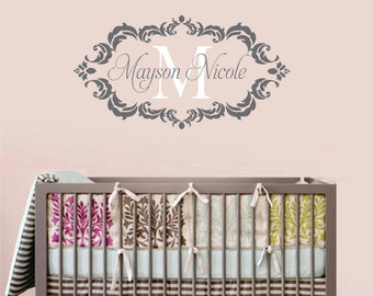 Childrens Decor Baby Nursery Wall Decal - Monogram Vinyl Wall Lettering Art Decal