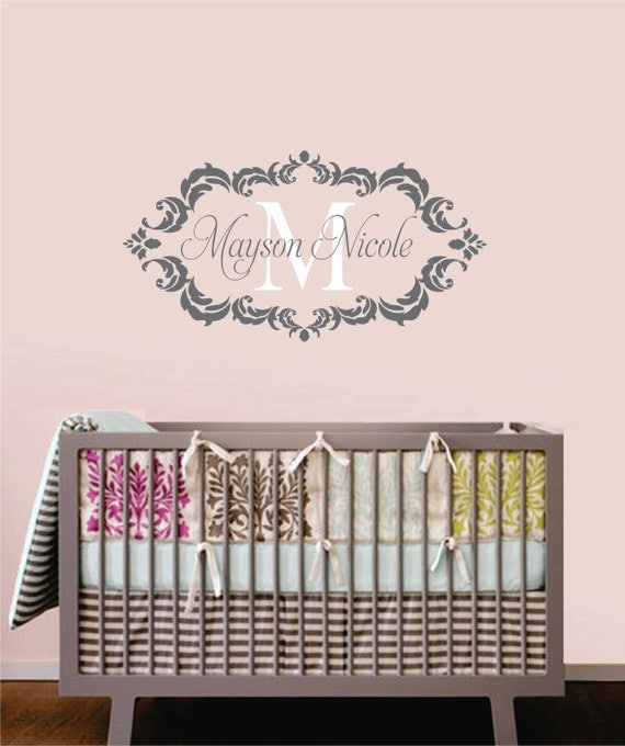 Childrens Decor Baby Nursery Wall Decal Monogram Vinyl Wall - Monogram vinyl wall decals for boys