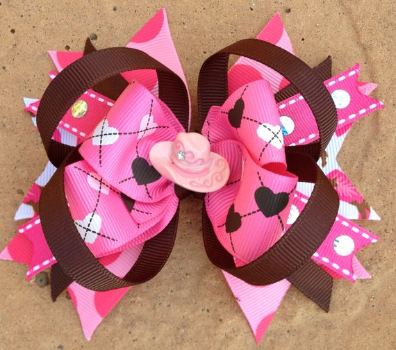 COWGIRL HAIR BOW Boutique Style Rodeo / Western Hair Bow with Pink Cowgirl Hat