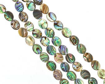 """16mm ABALONE SHELL Beads, oval double sided, 16"""" strand, about 24 beads bsh0017"""