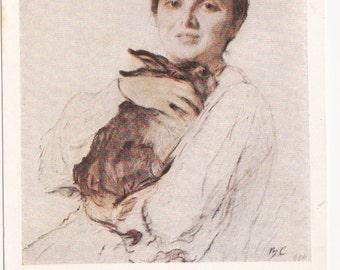 Vintage Serov (Portrait of Obninskaya with the Bunny) Postcard - 1959