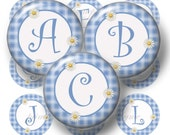 "Alphabet, Letters, 1 Inch Circle, Digital Collage Sheet, Bottle Cap Images, 1"" Round, Initials, For Bows, Pendants,  Blue Plaid Pattern"