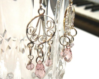 Chandelier Earrings - Silver Plated with Pink Faceted Crystals - Personalize-able.  EMD011