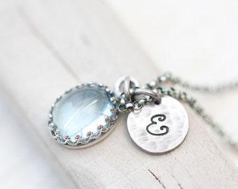 Mother's Necklace, Blue Topaz Necklace, Personalized Necklace, Personalized bezel set Necklace, Initial Necklace, Unique Birthstone Necklace