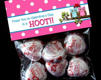INSTANT DOWNLOAD - Printable Valentine Treat Bag Toppers  - You're a Hoot  - Owl