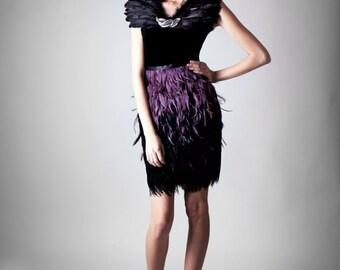 Purple/Black Ombré feather pencil skirt