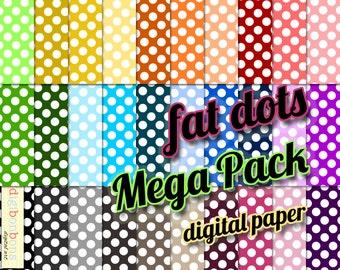 Big Polka Dots Digital Paper, INSTANT DOWNLOAD, Big Set, Polka Dot Background