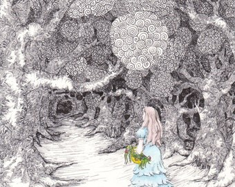 Into the woods:  A limited edition print of my original pen and ink fairytale drawing with watercolor