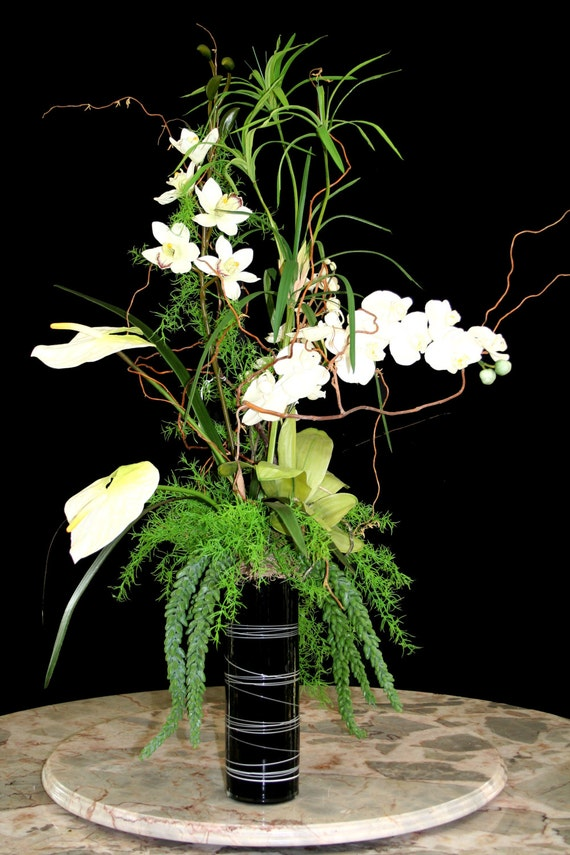 Items Similar To Tall Orchid Arrangement Exotic Flower Custom Home Decor White Flowers Permanent Botanicals On Etsy