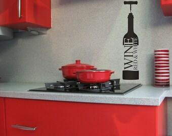 Wine Bottle Decal, Wine Bottle Decor, Decorations, Wine Bottle Opener, Kitchen Wall Decal, Kitchen Decor, Vinyl Sticker, Home Wall Art