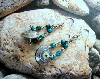 Paper Bead Earrings, Chain Earrings, Turquoise Earrings, Paper Bead Earrings, Beaded Chain Earrings, Dangle Earrings, Turquoise Jewelry