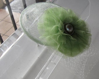 Pale Lime Green Pearl Tulle Flower Sinamay Fascinator Hat with Veil and Satin Headband, for weddings, parties, cocktail, special occasions