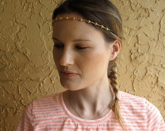 Gold Ball Chain Black Crystal Beaded Halo Headband, for weddings, parties, evening, special occasions
