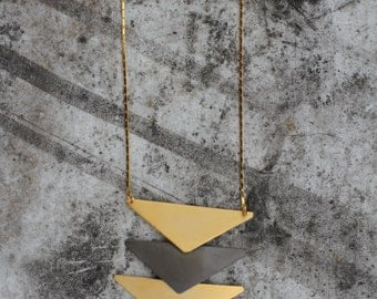 gold and blak TIRANGLES necklace, geometric pendant, minimal, office necklace, gift for her, sober fashion bib, cocktail necklace, design