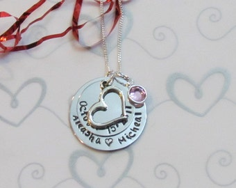 Couples Wedding Date Necklace -- Engagement -- Hand Stamped Necklace -- Personalized -Bridal Shower Gift - Gift box Included