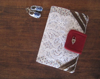 Colonial Clutch - White Lace over Dots - Faux Leather Accents - Smaller Size - FINAL SUPER SALE !!!