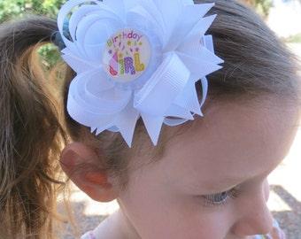 White Birthday Hair Bow - Birthday Hair Clip - Birthday Girl Hair Bow - White Hair Bow - Birthday Accessory - Birthday Girl