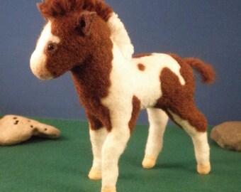 Artist bear horse, plush foal, soft sculpture minature horse, plush paint horse, horse lover gift
