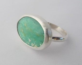 Sterling Silver Ring,  Chrysoprase Stone Ring, Handmade, size 9