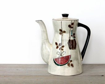 Vintage mid century style coffee pot / retro kitchen / retro home decor / kitsch collectible coffee pot / midcentury modern minimalist style