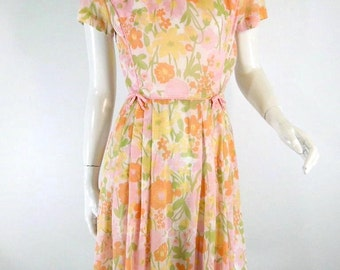 60s Pink Floral Cotton Dress With Nip Waist, Full Skirt - sm