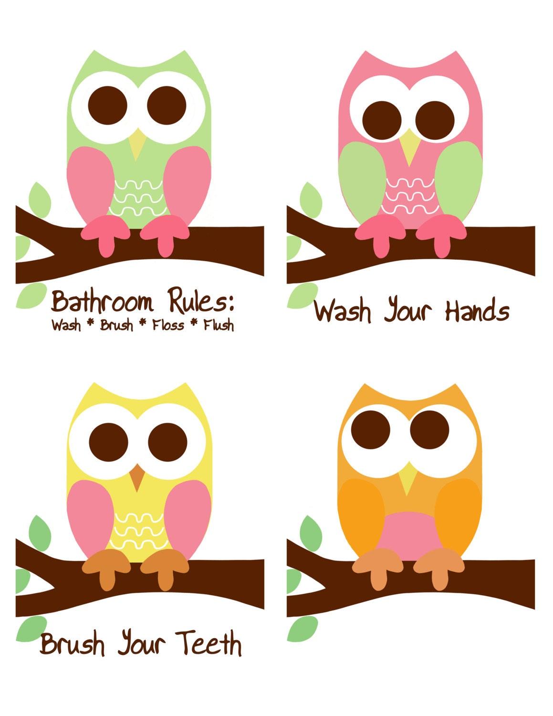 Owl Bathroom Rules Owl Prints Bathroom Sign Kid 39 S By