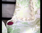 Elegantly Embellished Green Floral Topcoat with Raspberry Buttons and Hand-Crocheted Trim, Jacket, Cream