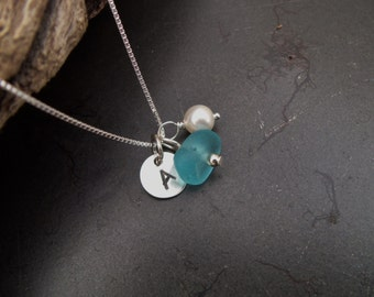 Sea glass jewelry,  Personalized blue sea glass initial necklace with swarovski pearl
