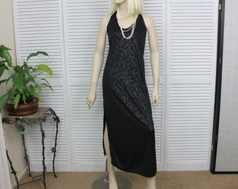 Vintage Long Black Halter Nightgown 1980s Size Small