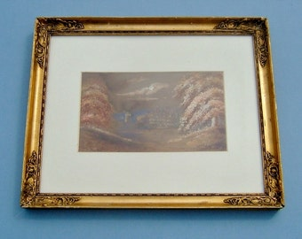 Victorian Painting of Willesley Hall England Landscape Watercolor in Orginal Frame  Art Antique Home Decor Wall