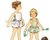 Simplicity 2130 Photocopy of Vintage 50s Adorable Toddlers Playsuit, Bubble Romper, Sunsuit with Emb Transfer Sewing Pattern Sz 1/2, 2, or 3