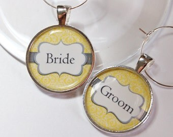Wedding Wine Charms, Bride Groom, Wine Charms, Yellow, Gray, Damask, Wedding Shower, wedding reception, table setting (2601)