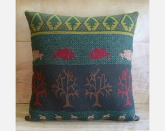 SALE Woodland Pillow - Forest Green Trees Fish - Native Cabin Camp Rustic