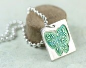 Silver Butterfly Pendant - Charm in Silver and Greens