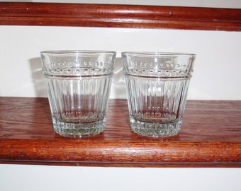 """2  ANCHOR HOCKING OLIVIA Rocks Double Fashioned Glasses Two Flat Tumblers Heavy Clear 4"""" Tall Dots Vertical Lines  Excellent Condition"""