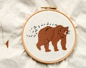 Whistling Bear Cross Stitch Pattern - PDF pattern