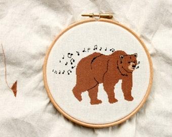 Whistling Bear Cross Stitch Pattern - PDF pattern
