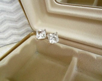Square, Clear Crystal Rhinestone, Stud Post Earrings with Silver, Open Back Prong Setting Jewelry