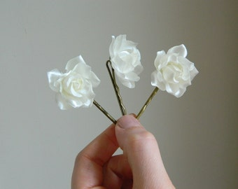Buttercream Rose Bobby Pin Trio - Ivory - woodland hair accessory - bride - bridesmaid - flowergirl READY TO SHIP