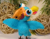 Parrot, Handmade Needle Felted Aqua Parrot OOAK (One of a Kind)
