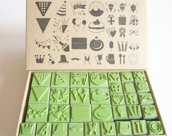 Scrapbook stamp Rubber Stamp , Christmas party stamper, party hat, cake, celeblate, balloon flag, high quality stamper ,  wedding, favor