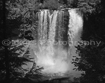Pacific Northwest Waterfall Nature Oregon Koosah Falls, Black & White, Fine Art Photography matted and signed 5x7 Original Photograph