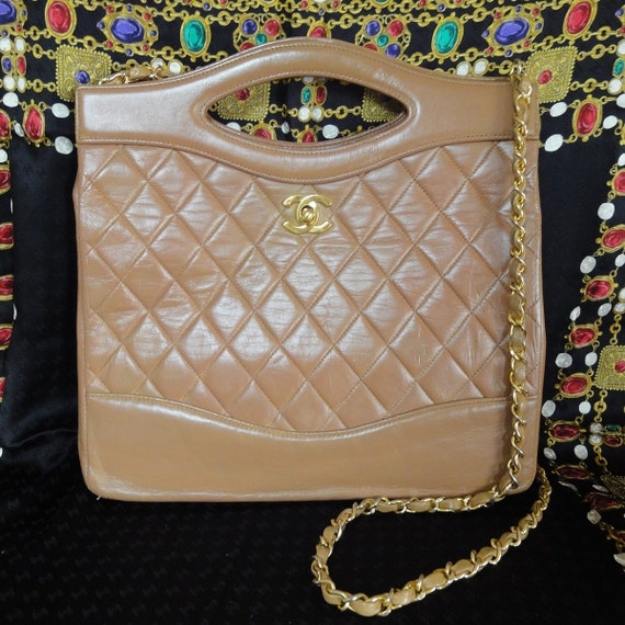 Vintage CHANEL brown lambskin tote purse, handbag with detachable gold tone chain strap and gold CC