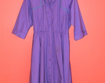 Vintage 80s M L Medium Large Purple Shirt Dress 3/4 Sleeves Turquoise Collar Front Button Rad Hipster Dress