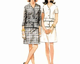 Circa 1965 Mod Chic Spy Girl, V-Neckline Button Belt Jacket Top, 2 sleeve Lengths and Above Knee A-line Skirt, Butterick 5121, Bust 32 1/2""