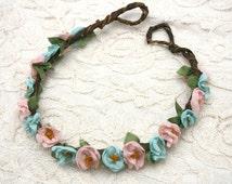 Peach and Aqua Flower Crown Headband, boho, romantic, bridal, fashion, bark vine, wreath, woodland, rustic, halo, fairytale