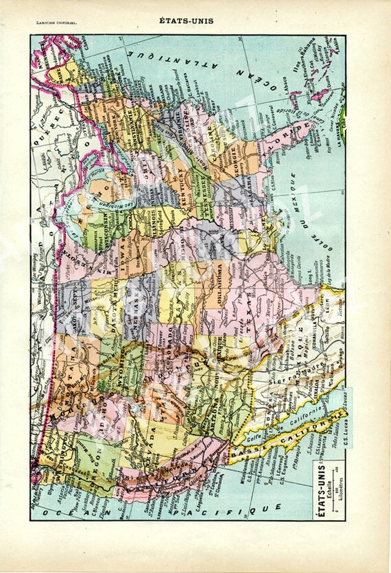 Vintage USA Map Of The United States Of America French - Vintage us map