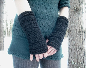 Fingerless Gloves, Knit Fingerless Gloves, Black Fingerless Gloves, Goth Arm Warmers, Wrist Warmers, Hand Knit Gloves, Knitted Gloves