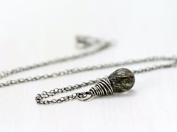 Tourmalinated Quartz Necklace, Oxidized Sterling Silver Wire Wrapped Black Rutilated Quartz Pendant Necklace