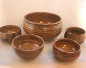 Serving Bowl 5 piece set handthrown pottery rust brown, Pottery Serving Set, Salad Bowl Set, Gift Serving Set - inHIShandsart